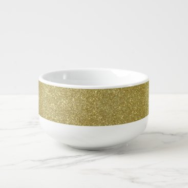 Beach Themed Bright Gold Glitter Sparkles Soup Mug