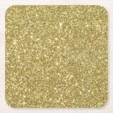 Beach Themed Bright Gold Glitter Sparkles Square Paper Coaster