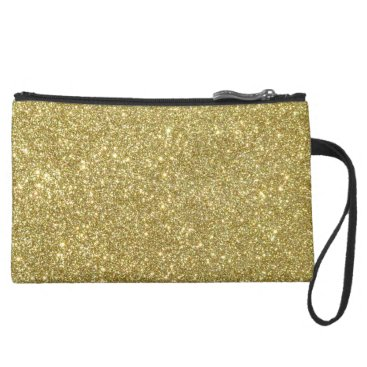Beach Themed Bright Gold Glitter Sparkles Suede Wristlet Wallet