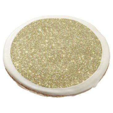 Beach Themed Bright Gold Glitter Sparkles Sugar Cookie