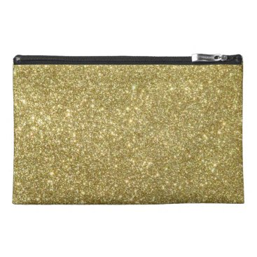 Beach Themed Bright Gold Glitter Sparkles Travel Accessories Bags