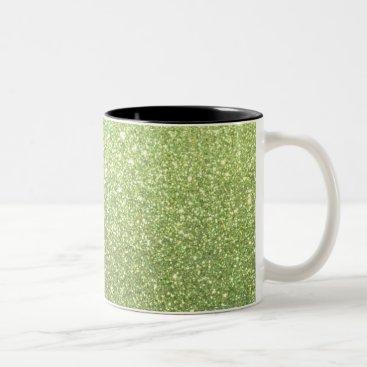 Beach Themed Bright Gold Glitter Sparkles Two-Tone Coffee Mug