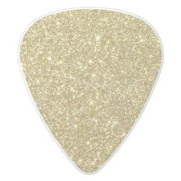 Beach Themed Bright Gold Glitter Sparkles White Delrin Guitar Pick
