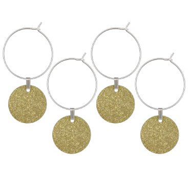 Beach Themed Bright Gold Glitter Sparkles Wine Charm