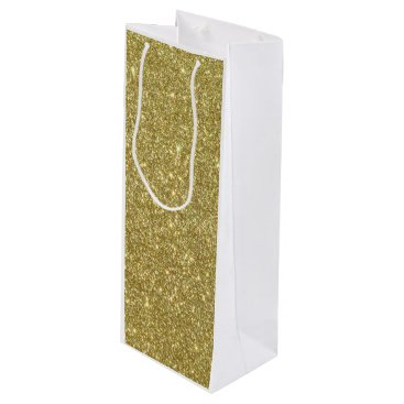 Beach Themed Bright Gold Glitter Sparkles Wine Gift Bag