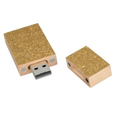Professional Business Bright Gold Glitter Sparkles Wood USB Flash Drive