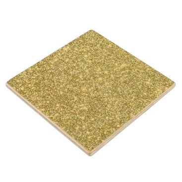 Beach Themed Bright Gold Glitter Sparkles Wooden Coaster