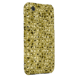 Bright Gold Sequin Effect Phone Cases Case-Mate iPhone 3 Cases