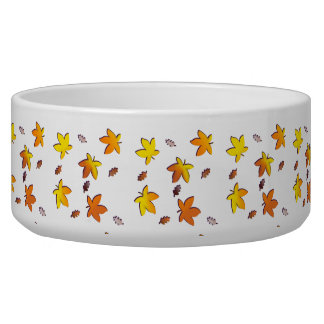 Bright Golden Falling Autumn Leaves Bowl