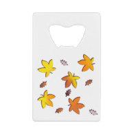 Bright Golden Falling Autumn Leaves Credit Card Bottle Opener