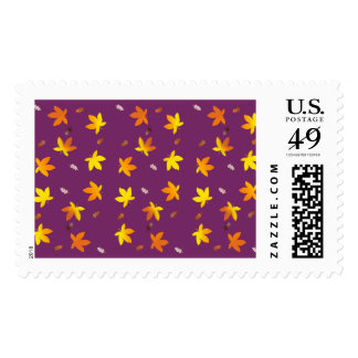 Bright Golden Falling Autumn Leaves Postage Stamp