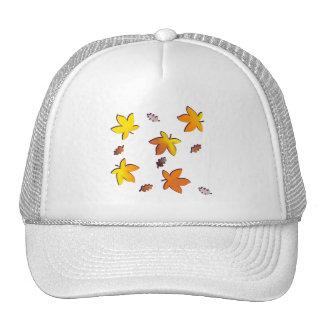 Bright Golden Falling Autumn Leaves Trucker Hat