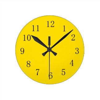 Bright Golden Yellow Kitchen Wall Clock