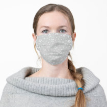 Bright Gray Floral Pattern Adult Cloth Face Mask