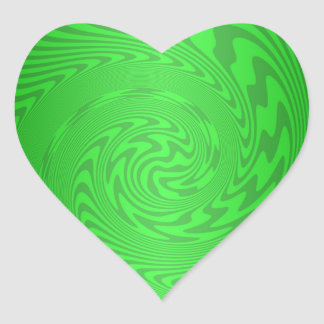Bright Green Abstract Design Heart Sticker