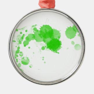 Bright Green Abstract Paint Splatter Splodge Metal Ornament