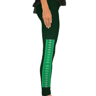 bright green abstract pattern legging tights