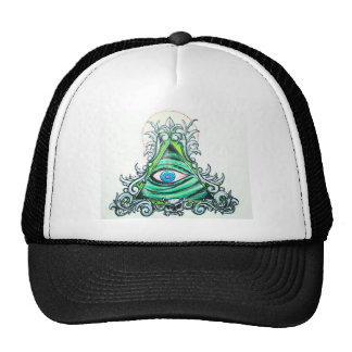 Bright Green All seeing eye Trucker Hat