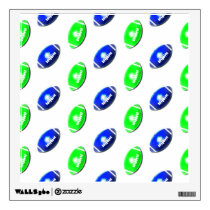 Bright Green and Blue Football Pattern Wall Decal