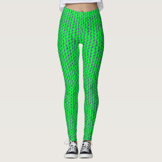 Bright Green and Blue Squiggles Leggings