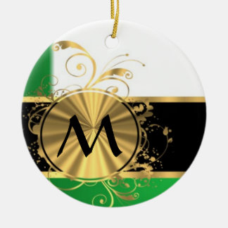 Bright green and gold monogram Double-Sided ceramic round christmas ornament