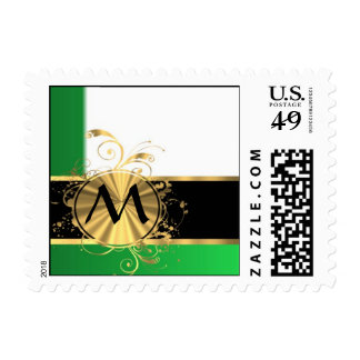 Bright green and gold monogram postage stamps