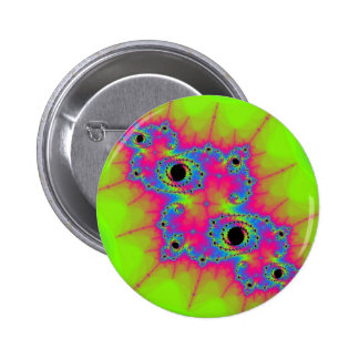 Bright Green and Pink Color Fractal Pinback Button
