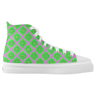 Bright Green and Pink Gaudy Sneakers