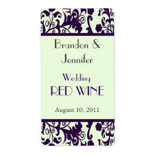 Bright Green and Purple Wedding Mini Wine Labels