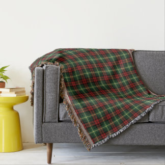 Bright Green and Red Clan Martin Scottish Plaid Throw