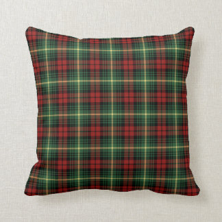 Bright Green and Red Clan Martin Scottish Plaid Throw Pillow