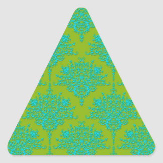 Bright Green and Turquoise Floral Damask Triangle Sticker