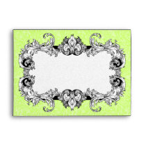 Bright Green and White A7 Gothic Baroque Envelopes