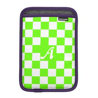 Bright Green and White Checkered Monogram iPad Mini Sleeves