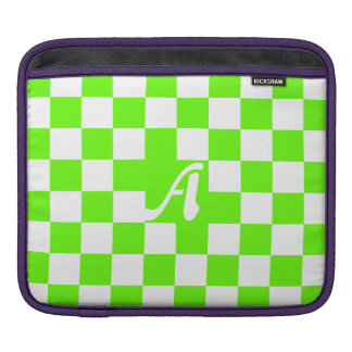 Bright Green and White Checkered Monogram iPad Sleeves