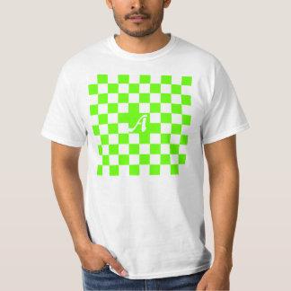 Bright Green and White Checkered Monogram T-Shirt