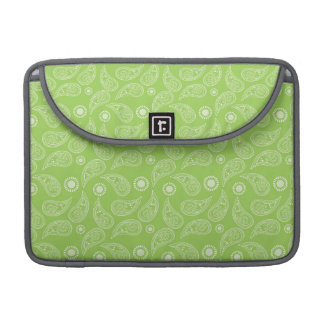 Bright Green and White Country Paisley Pattern MacBook Pro Sleeve