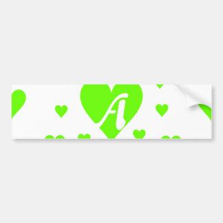 Bright Green and White Hearts Monogram Bumper Sticker