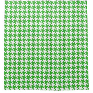 Bright green and White Houndstooth Pattern Shower Curtain