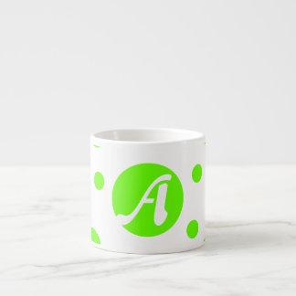 Bright Green and White Polka Dots Monogram Espresso Cup