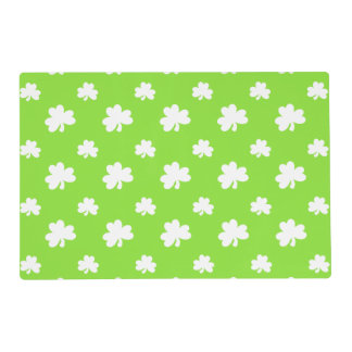 Bright Green and White Shamrock St. Patrick's Day Placemat