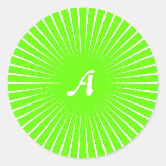 Bright Green and White Sunrays Monogram Round Sticker