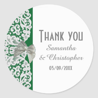 Bright green and white traditional lace thank you classic round sticker