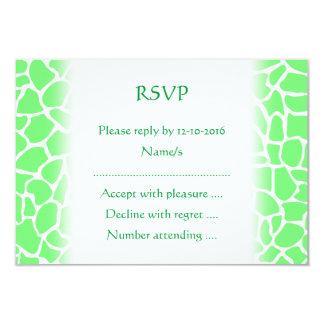 Bright Green Animal Print Giraffe Pattern 3.5x5 Paper Invitation Card