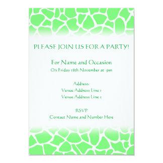 Bright Green Animal Print Giraffe Pattern 5x7 Paper Invitation Card