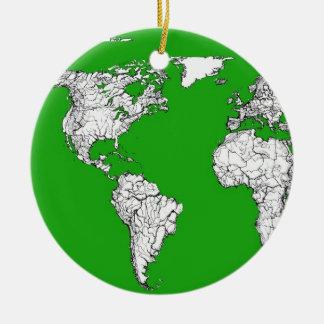 bright green atlas world map ink drawing art.jpg ceramic ornament
