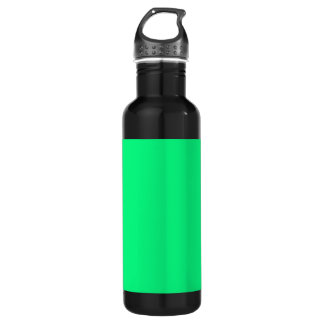 Bright Green Background on a Stainless Steel Water Bottle