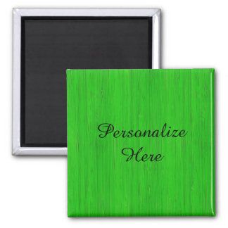 Bright Green Bamboo Wood Grain Look 2 Inch Square Magnet