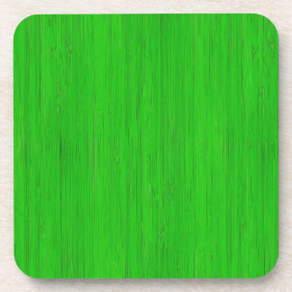 Bright Green Bamboo Wood Grain Look Drink Coaster