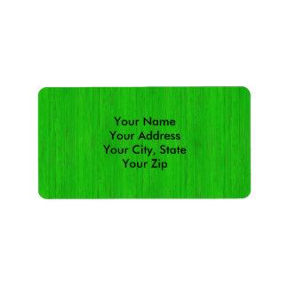 Bright Green Bamboo Wood Grain Look Label